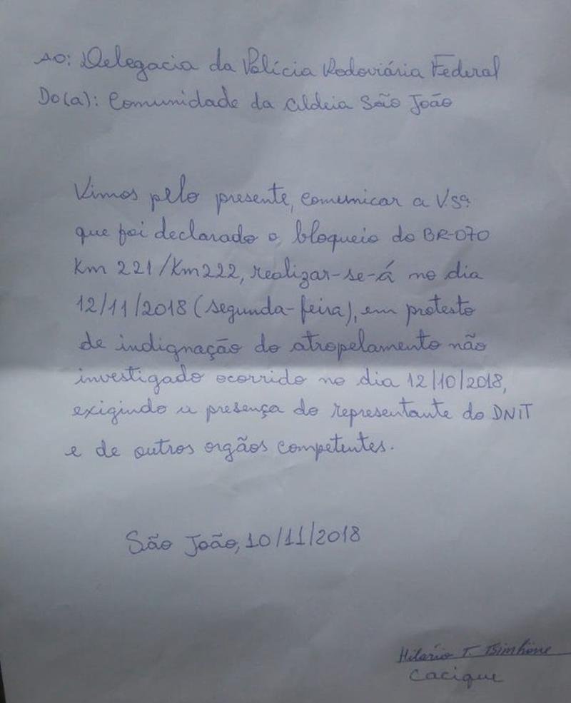Carta indígenas protesto