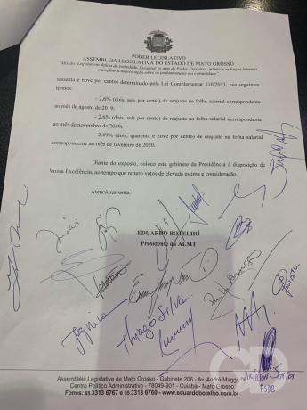 Documento da AL para governo