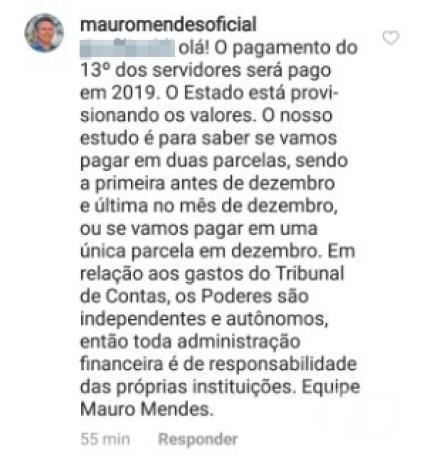 Mauro Mendes responde seguidor no Instagram