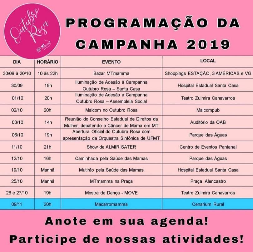 Programação Outubro Rosa 2019