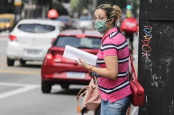 coronavirus, mulher, rua